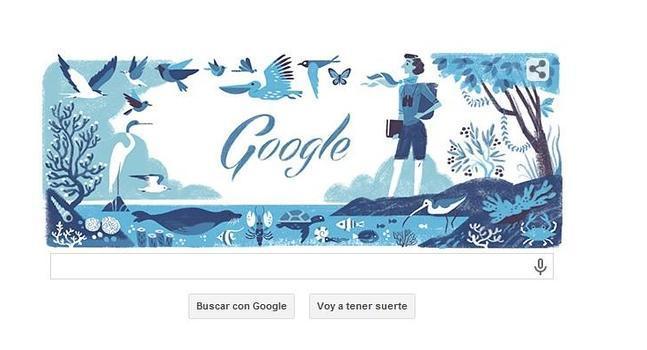En el doodle se observa a Rachel Louise Carson a la orilla del mar, rodeada de vegetación y todo tipo de animales.