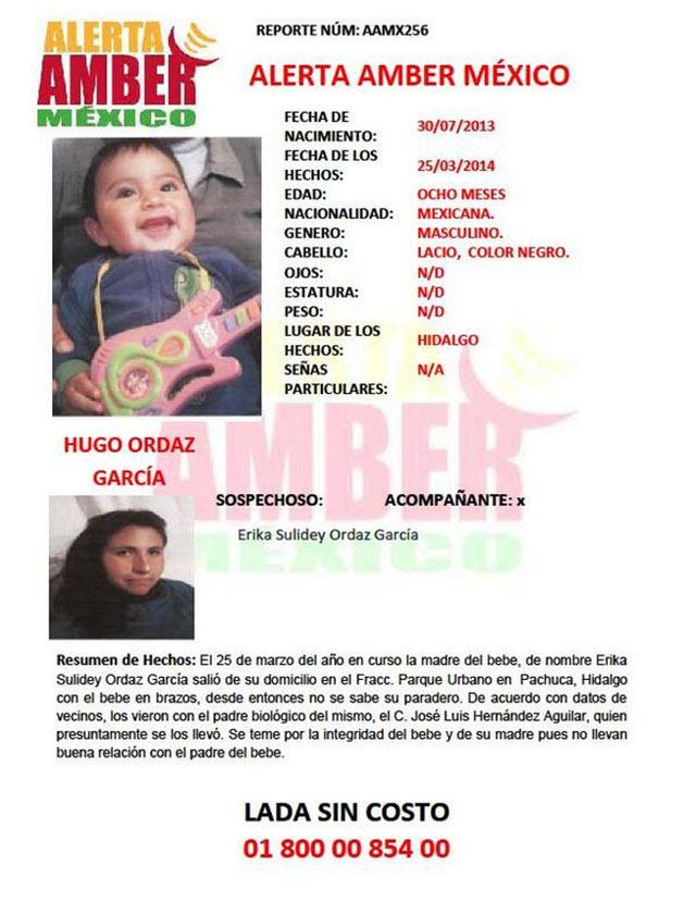 El menor de edad desapareció junto con su mamá el pasado 25 de marzo en Hidalgo.