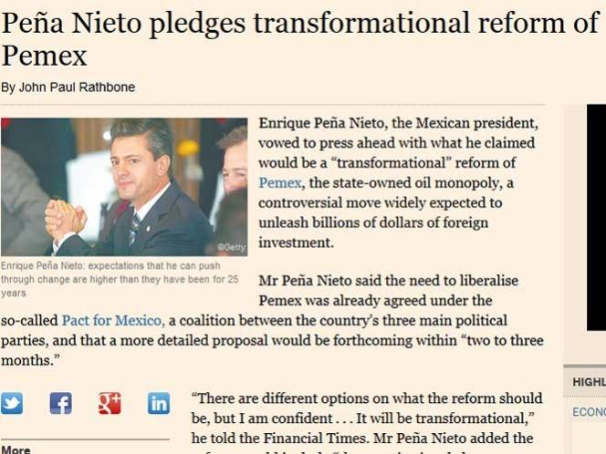 Peña Nieto anuncia en Londres reforma para Pemex antes de septiembre