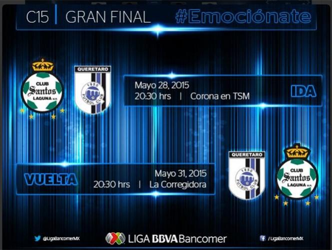 Así se jugarán los partidos por el título del Clausura 2015. (@LIGABancomerMX)