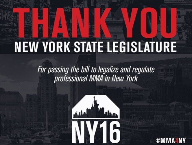 El Madison Square Garden mediante un comunicado se mostró contento por la decisión tomada este martes por la asamblea de Nueva York en legalizar este deporte. (@ufc)