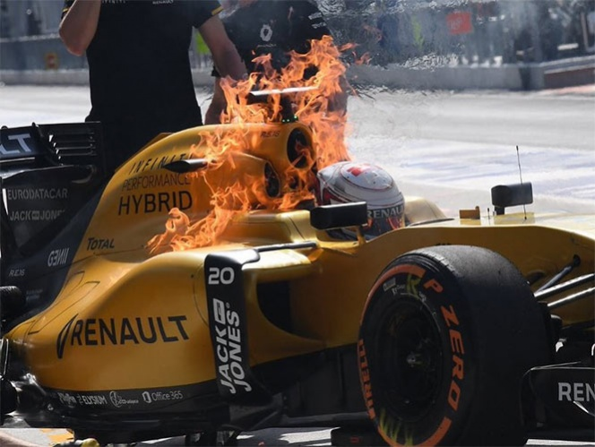 Mirá cómo se salvó Kevin Magnussen de quemarse