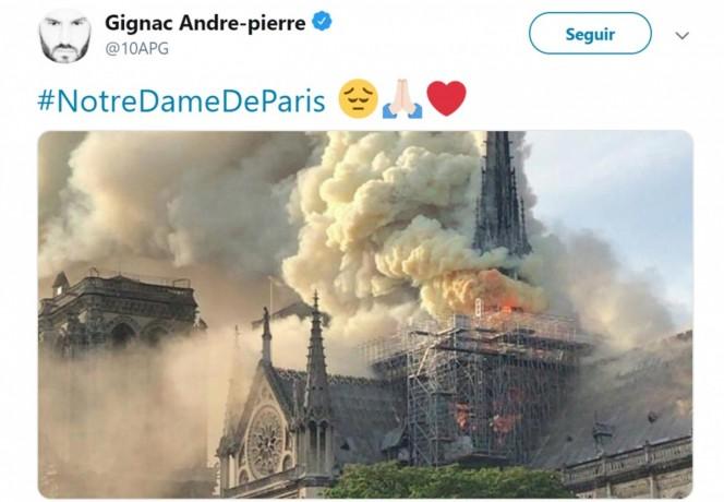 André-Pierre Gignac lamentó en twitter la pérdida irreparable de más de 850 años de historia. (@10APG)