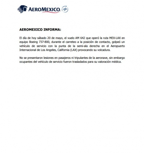 Avión de Aeroméxico choca con camión en el aeropuerto de LA