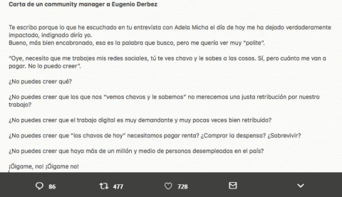 Carta de un Community Manager a Eugenio Derbez.