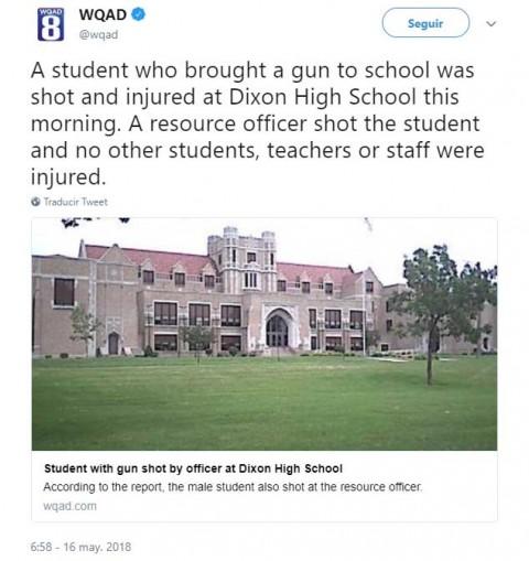 Cae estudiante armado en escuela de EU; resulta herido por policía