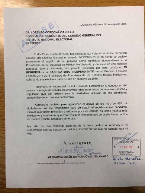 Carta de renuncia de Margarita Zavala entregada al INE