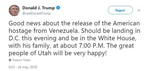 Anuncia Trump liberación de estadunidense preso en Venezuela