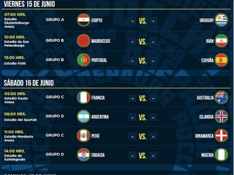 calendario mundial rusia 2018, copa del mundo fifa,