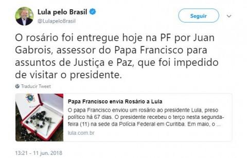 El Papa envía un rosario al expresidente brasileño Lula da Silva a la cárcel