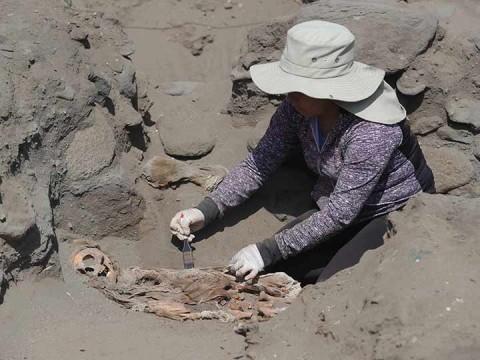Arqueólogos limpian restos en una excavación en Pampa La Cruz, Perú (Foto: EFE)