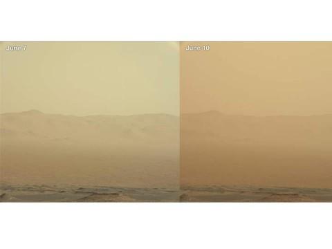 La tormenta ha aumentado considerablemente el polvo en el cráter Gale (Foto: AP)