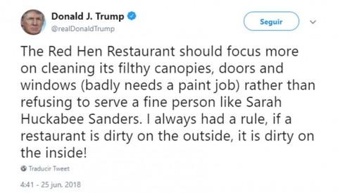 Increpa Trump a restaurante que corrió a su vocera