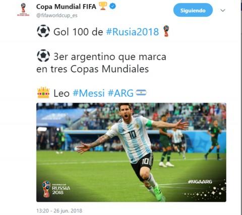 Messi firma el gol 100 de Rusia 2018