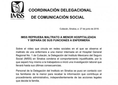Enfermera golpea a niña en Culiacán
