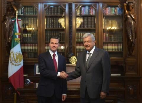 El presidente Enrique Peña Nieto recibió al virtual presidente Andrés Manuel López Obrador en Palacio Nacional