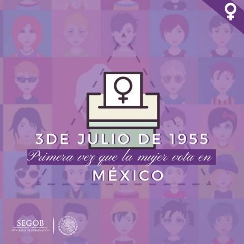 En las elecciones del 3 de julio de 1955, las mujeres mexicanas acudieron por primera vez a las urnas (Imagen Segob)