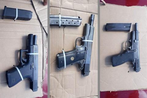Se les aseguró un arma corta tipo escuadra calibre 9 mm; un arma corta tipo escuadra 19. 9mm y un arma corta tipo escuadra, 9mm. Foto: Especial