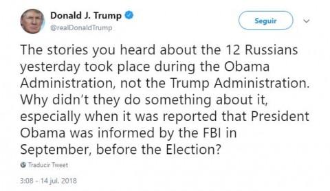 Trump culpa a Obama de hackeo ruso en 2016