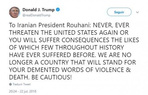 Responde Trump con amenazas al presidente de Irán