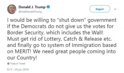 Trump amenaza cerrar gobierno ante oposición de Muro