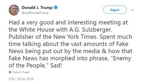 Trump dice que se reunió con editor del New York Times