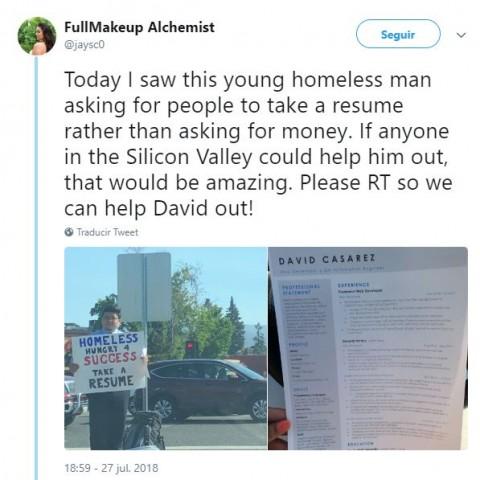 Joven sin casa se las ingenia para se contratado; se vuelve viral