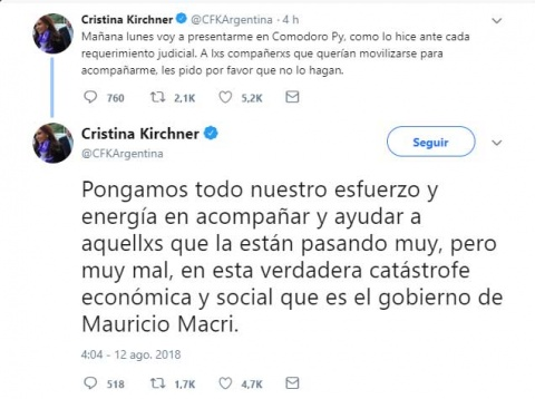 Cristina Fernández acusa a Macri de 'catástrofe económica y social'
