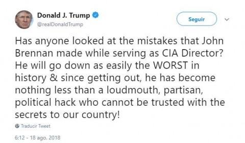 Trump redobla cruzada contra exjefe de CIA: 'charlatán, pirata, el peor'