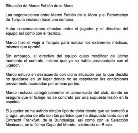 Marco Fabián, Lesión Espalda, Contrato, Fenerbahce,