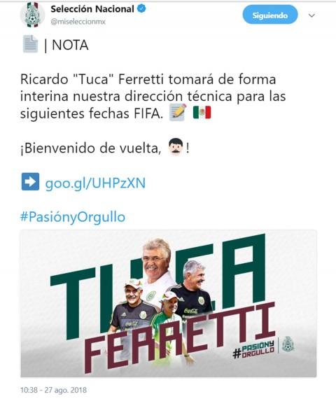 'Tuca' Ferretti técnico interino selección mexicana