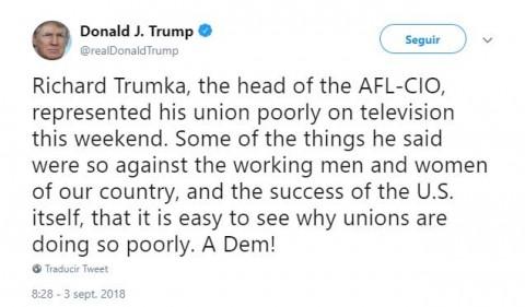 Trump critica a líder sindical en el Día del Trabajo