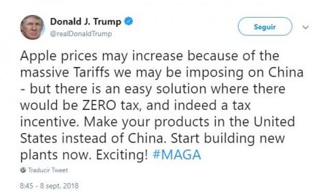 Pide Trump a Apple que olvide a China y fabrique en EU