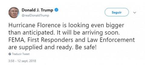 Mientras llega 'Florence', Trump ensalza su ayuda a Puerto Rico