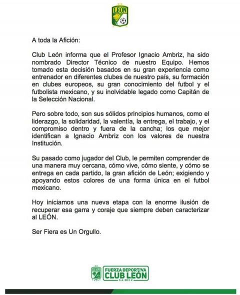 Comunicado León Nacho Ambriz