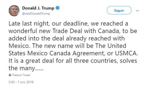 Celebra Trump el USMCA, el nuevo pacto comercial con Canadá y México