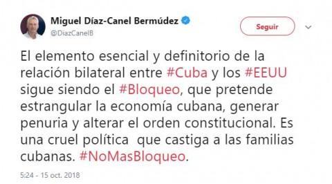 Presidente de Cuba lanza en Twitter campaña contra embargo de Estados Unidos