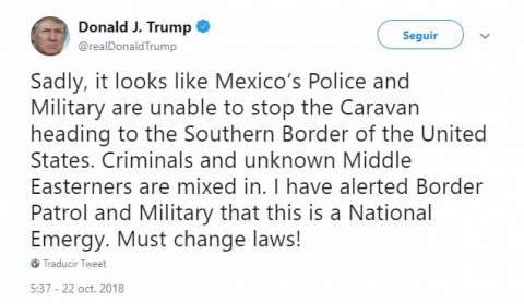 Trump critica a México por caravana y declara 'emergencia nacional'