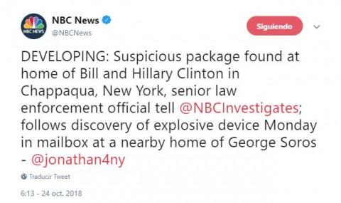 Hallan artefacto explosivo en casa de los Clinton