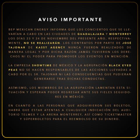 Black Eyed Peas no se presentará en Guadalajara y Monterrey