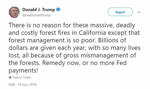 Trump culpa a autoridades de California de los incendios forestales; amaga con cortar ayuda