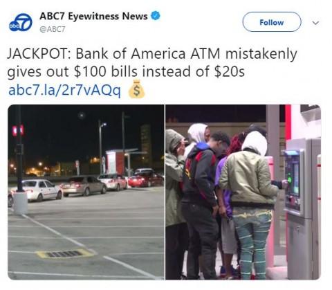 Cajero automático entrega billetes de $100 dólares en lugar de $10 o $20