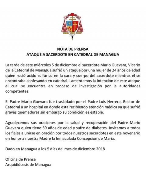 Mujer ataca con ácido a sacerdote en Nicaragua