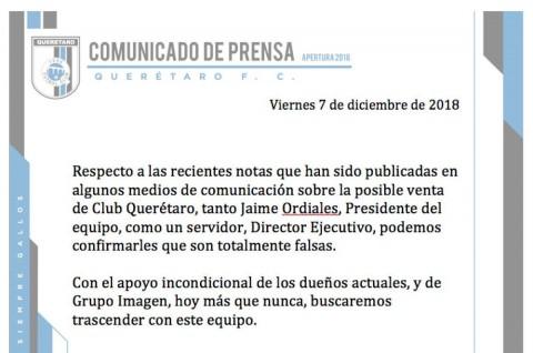 Gallos Querétaro No Se Vende, Club Querétaro, Gallos Querétaro, Liga Mx, Grupo Imagen, Venta Equipo, Desmienten Venta, Querétaro, Gallos. Noticias, Adrenalina, Excélsior,