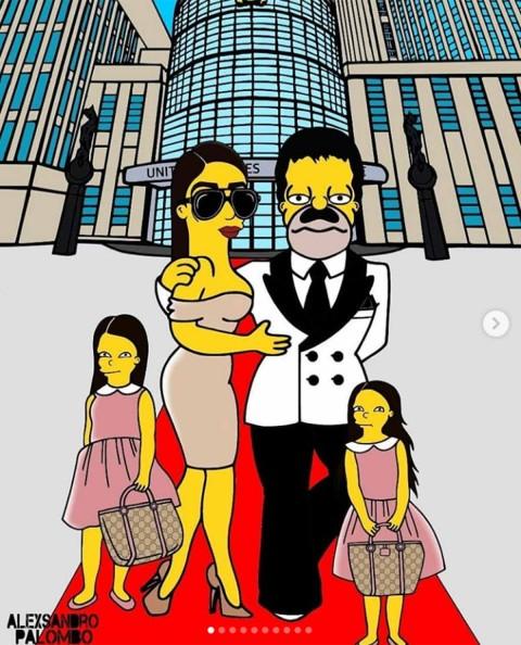 Emma y 'El Chapo' al lado de sus hijas
