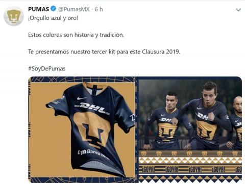 Pumas Unam, Nuevo Uniforme, Clausura 2019, Liga Mx, Jornada 2, Tercer Uniforme, Futbol Mexicano, Rayos Necaxa, Tiburones Rojos, Noticias, Adrenalina, Excélsior,