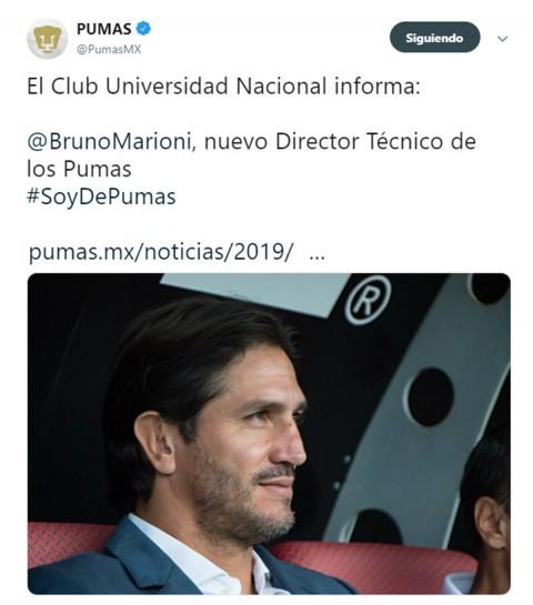 Marinoni Nuevo Técnico Pumas, Pumas Unam, Bruno Marioni, David Patiño, Nuevo Técnico, Noticis, Adrenalina, Excélsior,