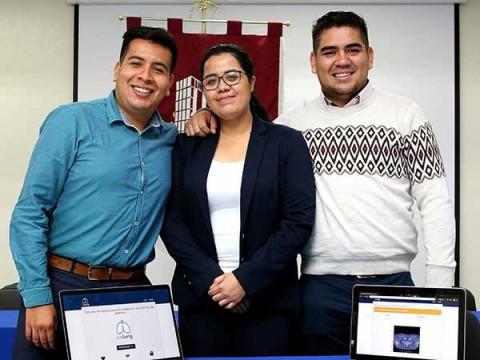 Los alumnos del ESCOM, del IPN, Isaac Iván Aguirre Bahena, Ximena Fernanda Cortés Perales y Sergio Martínez Ávila desarrollaron un sistema computarizado que realiza pre-diagnósticos para identificar a pacientes con cáncer de pulmón en etapa temprana. Foto: IPN