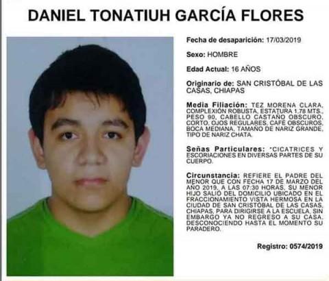 Daniel Tonatiuh García Flores fue reportado como desaparecido desde el 17 de marzo
