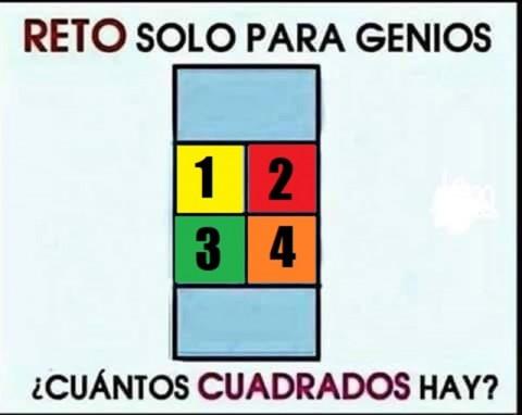 """""""¿Cuántos cuadrados hay en la imagen?: Reto para genios"""", dice la publicación de la página de humor de Facebook 'Los Insuperables'"""